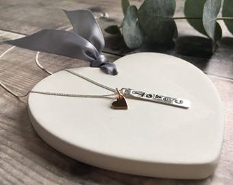 Sterling Silver and Rose Gold Hand Stamped 'Love' Necklace