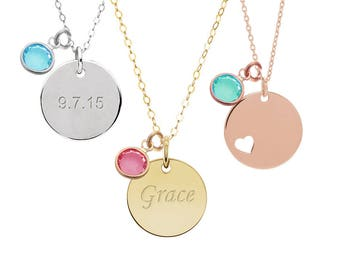 Personalized necklace - Disc Birthstone necklace, engraved name necklace, initial necklace, Christmas gift for her, gift for mom DISC11