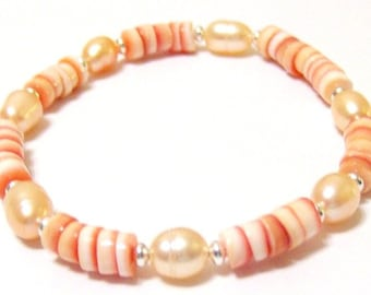 Red Lip Shell and Peach Pearl Handcrafted Bracelet 7 1/2 Inches