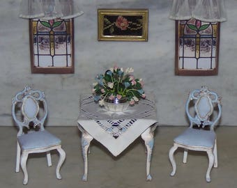Bespaq Table and Two Chairs.  1:12th Dollhouse.  Game Table comes with Cloth.  Painted and Glazed.