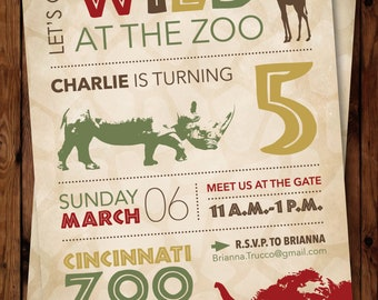 Wild Birthday Invitation/Jungle Invitation/Safari Invitation/Zoo Invitation/Jungle Invite/Safari Birthday Invite/Zoo Birthday Invitation