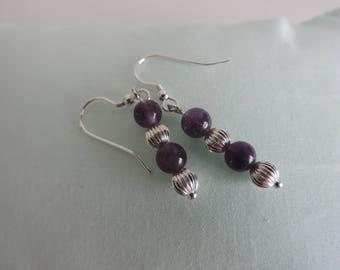 Amethyst and Silver Bead Drop Earrings