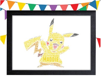 Personalized Gift Pikachu Gift Pokemon Gift Pokemon Art Pikachu Wall Art Wall Prints Wall Art Wall Decor Personalised Gift Wall Art Prints