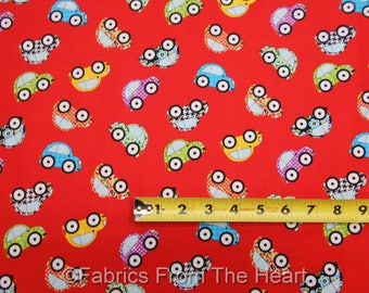 VW Bug Cars on Red Retro  Are w There Yet?  BY YARDS Henry Glass Cotton Fabric
