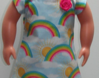 "Rainbows and Sunshine Square neck & Petal Sleeve Knee Length Dress 18"" Doll Clothes"