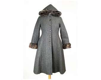 Vintage Gray Wool Faux Fur Hooded Princess Coat XS Small Empire Waist Flared Hem POCKETS 1990s