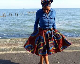 African Skirt Ankara Skirt Wrap Skirt Midi Skirt Full Skirt