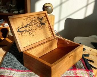 Handmade Solid Wood Box with hinge lid - Lichtenberg Figure Wooden Box - Keepsake Box - Jewelry Box - wood box with lid