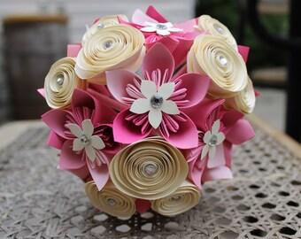 Pink Ombré Origami Bouquet - Paper Flowers - Bridal Bouquet - Bridesmaid Bouquet