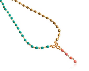 Mint gold and pink beads necklace, Gold and mint beaded y necklace, Gold beads strand necklace, Glitzy necklace