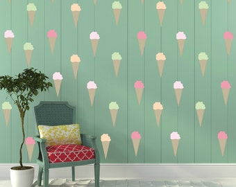 FREE SHIPPING Ice Cream Wall Decal.85 Colorful Wall Decal. Nursery Decal. Home Decor. Housewares.