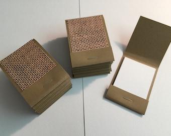 20 Matchbook Notepads Matchbook Favors - Burlap, Handmade