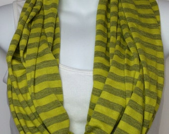 Neon yellow striped jersey knit infinity scarf