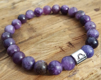 Libra Zodiac Bracelet Lepidolite Bracelet Yoga Bracelet Meditation Bracelet Healing Bracelet Stone Bracelet Chakra Bracelet Libra Birthstone