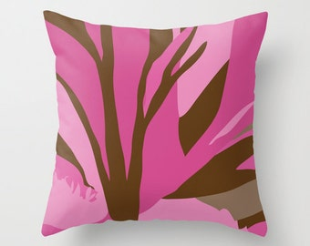 Brown and Pink Flower Pillow Cover  - 18x18 inch pillow - 16x16 inch pillow - 20x20 inch pillow - Throw Pillow Cover