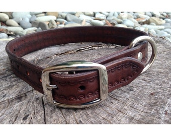 Dog Collar - Handmade Leather & Silver #3