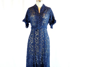 "Vintage 1940s Dress | Navy Sheer Lace | 28"" Waist"