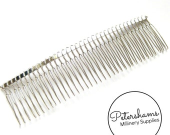 """14cm (5.5"""") Extra Large Silver Plated Metal Hair Comb / Tiara Comb for Fascinators & Millinery"""
