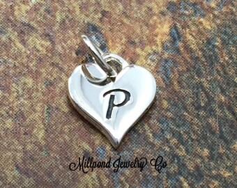 Initial Charm, Letter Charm, P Charm, Letter P Charm, Heart Letter Charm, Alphabet Charm, Sterling Silver Charm