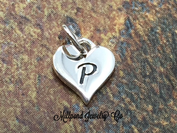 Initial Charm Letter P Heart Alphabet Sterling Silver From MillpondJewelryCo On Etsy Studio