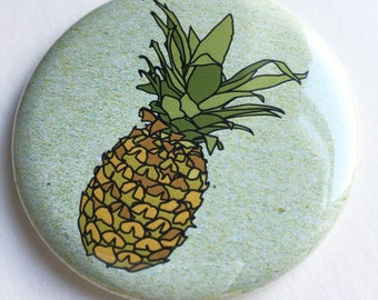 pineapple pocket mirror - illustrated tropical fruit compact mirror - pineapple print gift