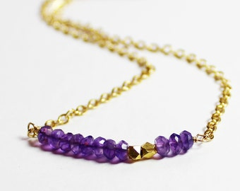 Amethyst and Gold Necklace- February Birthstone - Genuine Amethyst Necklace