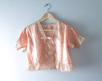 1930s Lingerie Top | 1930s Peach Satin Bed Jacket S | Vintage Bed Jacket