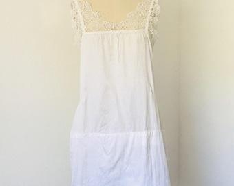 Antique Cotton & Lace Sleep Dress Petticoat Slip l M