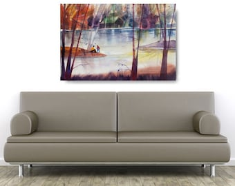 Lake Tranquility, African American Art, Canvas Art, Canvas Wall Art,Home Decor Art, Canvas Painting,Abstract Art, Wall Art
