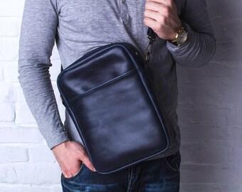 LEATHER MENS BAG, vertical mens bag, leather shoulder bag men, blue leather shoulder bag, vertical leather shoulder bag, shoulder bag men
