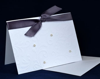Greeting card blank inside pearls and ribbon