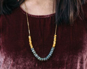 Tide -- gemstone and gold beaded necklace, colorblock, mid-length, short, layering, statement, lightweight, boho, minimalist, classic