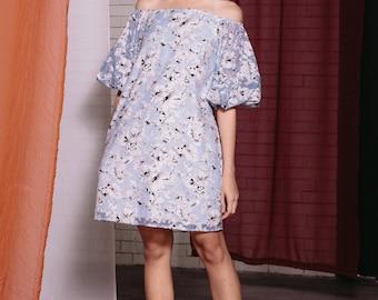 Maarimaia Off shoulder Balloon Sleeve Mini Blue | Flowy Dress | Summer Dress | Handkerchief Hem | Drop Waist | Casual | organdie Dress