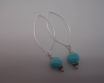 Amazonite and Sterling Silver and gold filled beaded Earrings