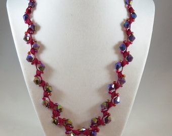 Red Iridescent Bicone Bead Crochet Necklace