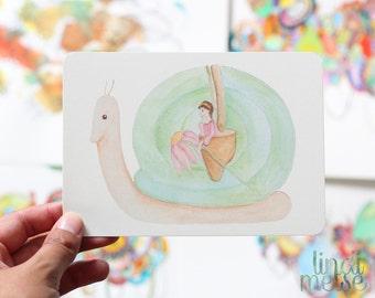 Fantasy Snail Postcard with envelope
