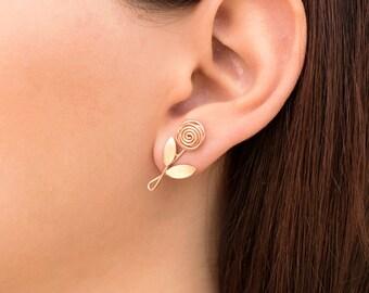 Flower earring studs, rose gold earrings, rose gold studs, cute earrings, hypoallergenic earrings