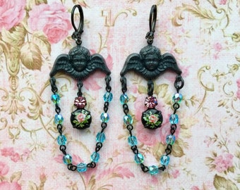 Angel Earrings - Victorian Jewelry - Victorian Earrings - Chandelier Earrings - Assemblage Earrings - Angel Jewelry - Vintage Style Earrings