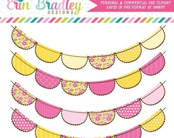 80% OFF SALE Pink and Yellow Flowers Bunting Flags Clipart Clip Art for Personal & Commercial Use