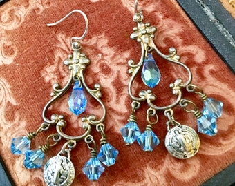 Montpellier, vintage assemblage earrings, Swarovski crystals, religious, Saint, chandelier, sterling silver
