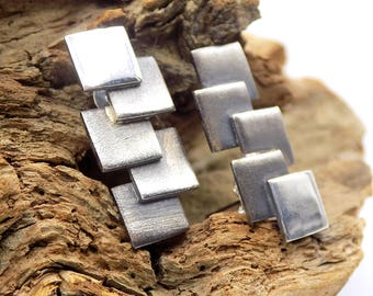 Earrings, fine silver, modern and square, brushed and oxidized silver metal clay, handmade jewelry ring