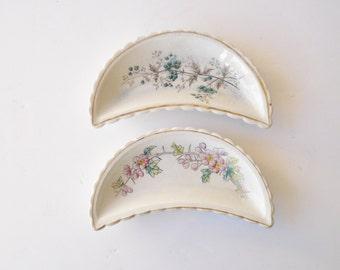 Antique Bone Dishes Set of Two, Victorian Transferware Ironstone Bone Dishes, Scalloped Bone Dishes