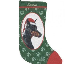 Doberman Dog Personalized Christmas Stocking