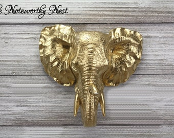 CLEARANCE Gold Elephant Head / faux taxidermy / elephant head / hunting decor / lodge decor / modern decor / wall hanging / gallery decor