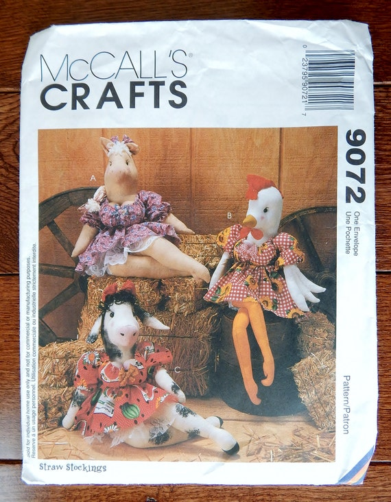 Barnyard Babes Sewing Pattern/ McCall\'s Crafts 9072/ 617 18 inch ...