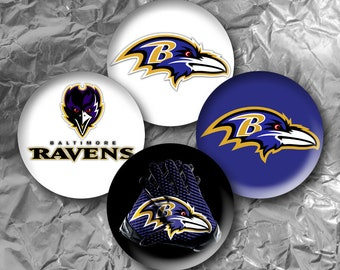"Baltimore Ravens -  15 Images in 1 Inch Circles 4"" x 6"" Digital Collage Sheet For Bottle caps, Cupcake Toppers"