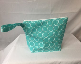 Aqua and white patterned wet/ drybag - cloth diaper bag - baby shower gift - cosmetic bag - water resistant bag- beach / pool bag - gym bag