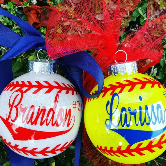 Items similar to Softball Ornament, Personalized Softball ...