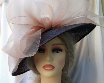 Brown Sinamay Hat with Nude Crin Loops, Derby Hat, Races Hat, Ascot Hat, Event Hat, Wedding Hat, Exclusive Hat, Womens Hats