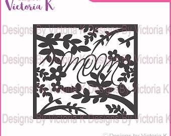 Mother's Day Mom Paper Cut svg, Flowers, Frame SVG, PNG, EPS Files, Cricut Design Space, Vinyl cut Files